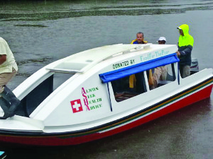 The new water ambulance gifted to the St Monica and Karawab communities