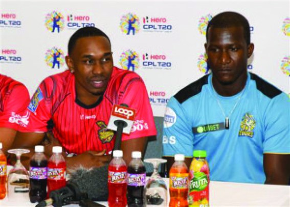 From left: Trinbago Knight Riders Dwayne Bravo and Darren Sammy and at a press conference ahead of CPL 2016 curtain-raiser