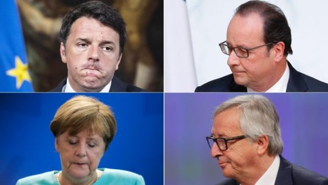 European leaders (clockwise from top left) Matteo Renzi, Francois Hollande, Jean-Claude Juncker and Angela Merkel have all reacted to the UK's decision to leave (Photo credit: AP, Reuters, EPA)