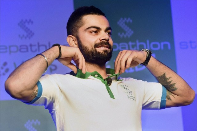 New Delhi: Cricketer Virat Kohli at the launch of Stepathlon Kids, a company on building a healthy lifestyle for children, in New Delhi on Tuesday. PTI Photo by Subhav Shukla