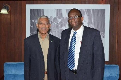 President David Granger and Guyana's Ambassador Designate to South Africa, Dr. Cecil Kenrick Hunte at the Ministry of the Presidency