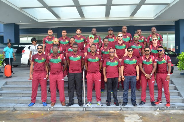 Members and officials of the Guyana Amazon Warriors team prior to their departure for Kingson, Jamaica yesterday.