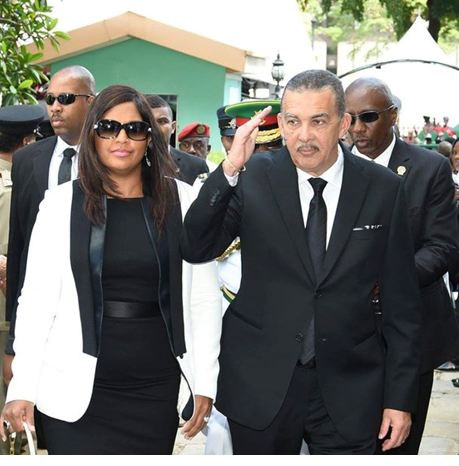President Anthony Carmona and his wife Reema arrive for the State Funeral. (Photo: Office of the Prime Minister).