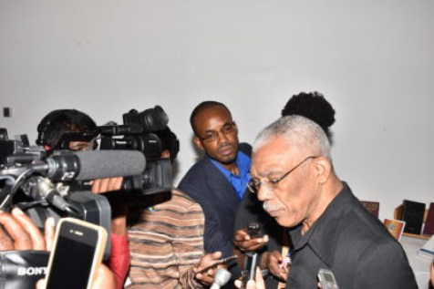 President David Granger interacting with media operatives as the 37th Regular Meeting of the Conference of CARICOM Heads of Government (GINA photo)