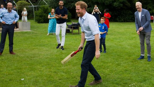 Harry discussed the issue of depression and mental health with some of those at the barbecue (Photo: Royal Foundation)