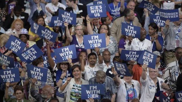 Supporters of Democratic Presidential nominee, Hillary Clinton