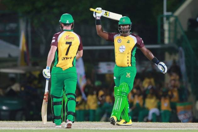 Dwayne Smith of Guyana Amazon Warriors brings up 50 during Match 2 of the Hero Caribbean Premier League between St Kitts & Nevis Patriots and Guyana Amazon Warriors at Warner Park in Basseterre, St Kitts. (CPL Photo by: Ashley Allen/Sportsfile)
