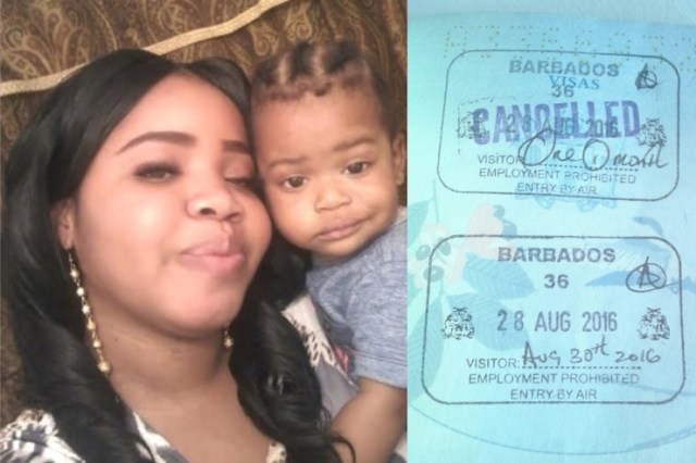 Sonya King claims she and her 14-month-old son (both pictured) were initially refused entry to Barbados before being granted a two-day stay in the island. At right are the stamps she said she got in her passport. (Photo: Jamaica Observer)