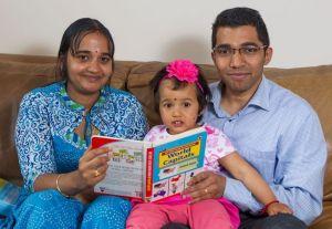 Ramesh and Kavitha Kumar with two-year-old Rakshitha