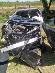 MANGLED: One of the vehicles involved in the fatal accident
