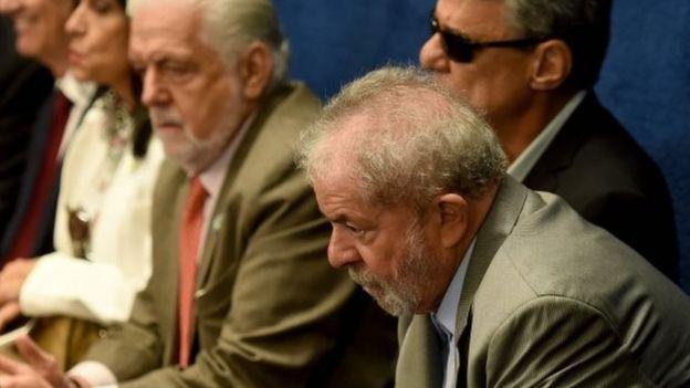 Former President Luiz Inacio Lula da Silva watched on as Ms Rousseff spoke (AFP photo)