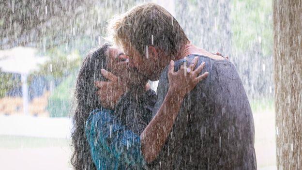 Tanishtha Chatterjee and Brett Lee kiss in a scene from UnIndian (BBC/TEMPLE MEDIA)