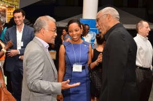 President David Granger interacting with the delegates at a cocktail reception after the formal opening of the Fourth International Congress on Biodiversity of the Guiana Shield at the Arthur Chung Convention Centre