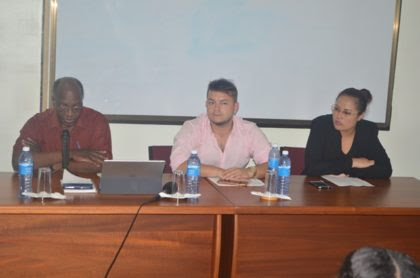 Ambassador of the Republic of Colombia, Ronald Austin and Professor Nelson Hernan Giraldo Sanguino along with Sandra Chung, Foreign Service Officer 2, Desk Officer of the Guyana South America Bilateral Relations, Ministry of Foreign Affairs at the head table at the Ministry's Spanish course orientation