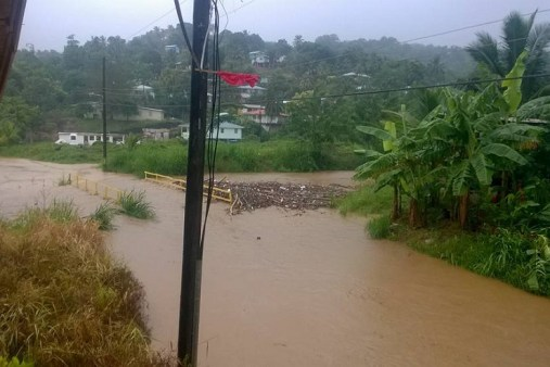 Flooding was reported all across St. Lucia. (Photo credit: Kendel Verdley/Facebook) Read more: http://www.caribbean360.com/news/st-lucia-reports-flooding-power-outages-storm-impacts#ixzz4LgABtNP8