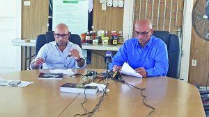 GCCI President Vishnu Doerga and GCCI Junior Vice President Nicholas Boyer at the press conference on Wednesday