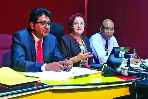 PPP/C MP and former Attorney General, Anil Nandlall; Opposition Chief Whip Gail Teixeira and PPP/C MP and former Junior Finance Minister Juan Edghill at a news conference on Monday