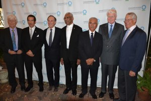 from left- Mr. Russell Mittermeier, Ph.D., Executive Vice Chair, Conservation International, President Ian Khama of Botswana, Chairman, Chief Executive Officer and Co-founder of Conservation International, Mr. Peter Seligmann, President David Granger,  former President Anote Tong of Kiribati, former President Olafur Ragnar Grimsson of Iceland and Chairman of the Executive Committee, Mr. Rob Walton