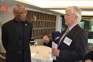 President David Granger in discussion with Mr. Russell Mittermeier, Executive Vice Chair of Conservation International, shortly after his arrival at the Watergate Complex in Washington D.C., where he was invited to participate in the organisation's annual Board meeting.
