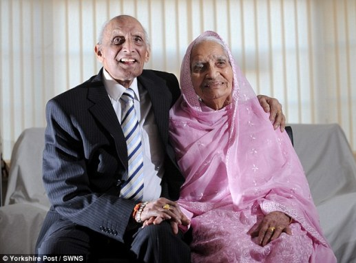 Great-grandfather Karam Chand (left) who was married to his wife Katari (right) for 91 years after an arranged marriage in 1925 has died at the age of 110