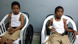The schoolboys at the hospital today