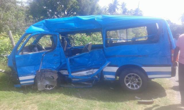 One of the two mini-buses involved in the smash up