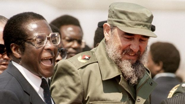 Robert Mugabe, pictured with Mr Castro, is attending (AFP)