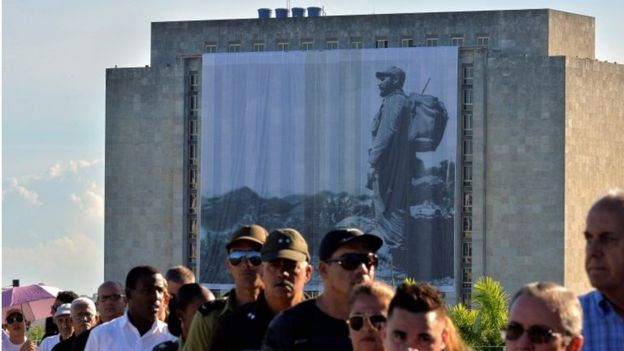 A photograph of Fidel Castro carrying a rucksack was on display in Revolution Square (AFP)