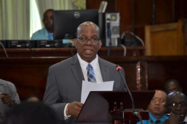 Finance Minister Winston Jordan presenting Budget 2017 yesterday