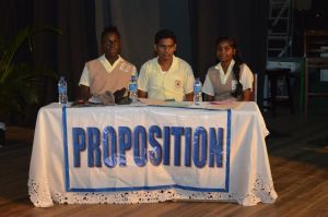 The proposing New Amsterdam Multilateral Secondary team at the .O.F Haynes Memorial Haynes Inter-Secondary Schools Debating competition at the Theatre Guild Playhouse
