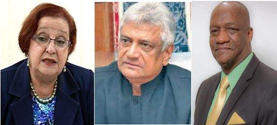 Opposition Chief Whip Gail Teixeira, Outgoing GECOM Chairman Dr Steve Surujbally and Minister of State Joe Harmon
