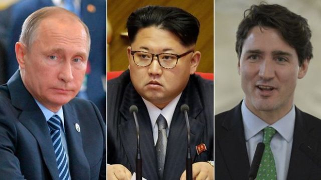 Russian President Vladimir Putin (left), North Korean leader Kim Jung-un (centre) and Canadian Prime Minister Justin Trudeau will all be absent from the commemoration (AP and AFP)
