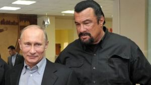 President Putin and Seagal have previously teamed up to promote exercise for schoolchildren (AFP photo)
