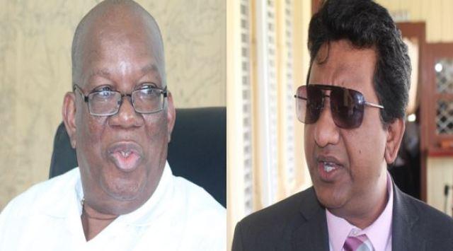 Finance Minister Winston Jordan and PPP/C Member of Parliament Anil Nandlall