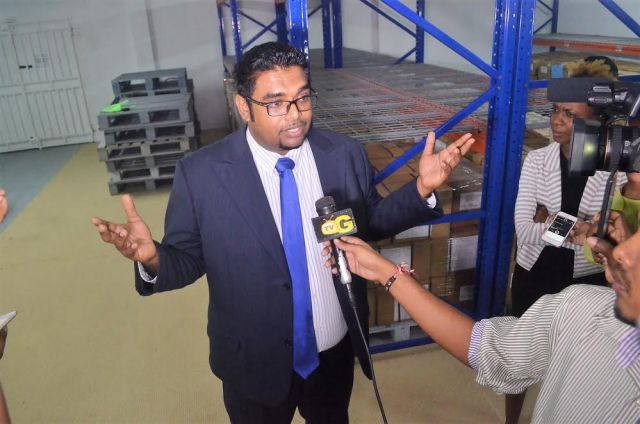 PPP/C MP Irfaan Ali speaking to reporters at the site