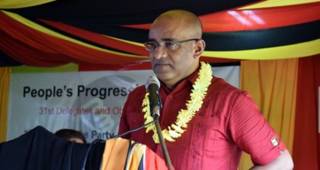 Dr Bharrat Jagdeo speaking during yesterday's opening of the PPP congress in Essequibo