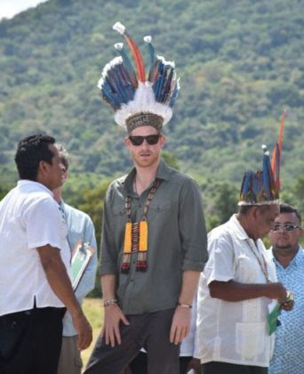 Prince Harry dons a traditional Indigenous head dress