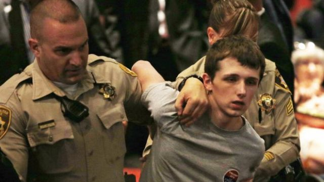 Mr Sandford was dramatically arrested during a Las Vegas rally for Mr Trump (AP    photo)