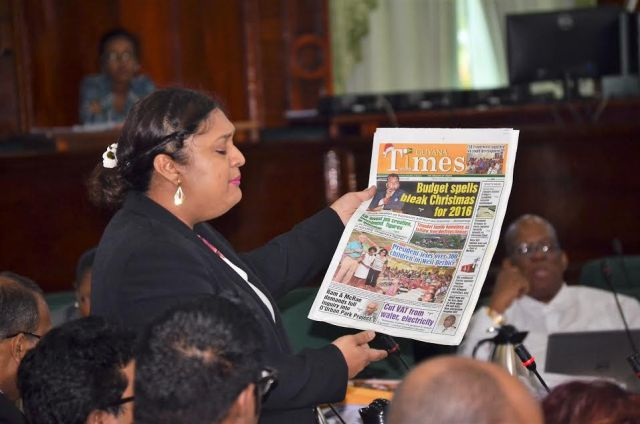 Manickchand, in her fiery presentation, also directed attention to the various headlines of today's edition of the Guyana Times