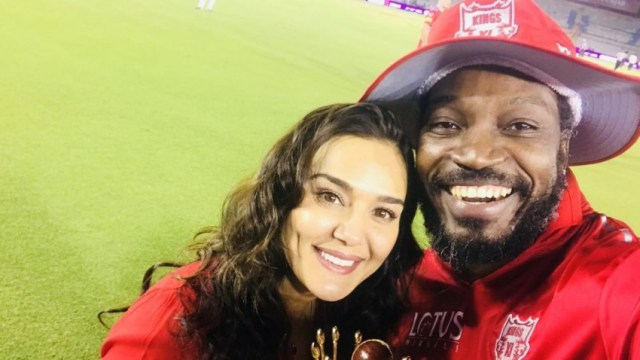 Windies star Chris Gayle with Kings XI Punjab co-owner and Bollywood diva  Preity Zinta