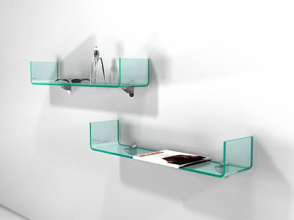 Handle Shelf In Curved Glass