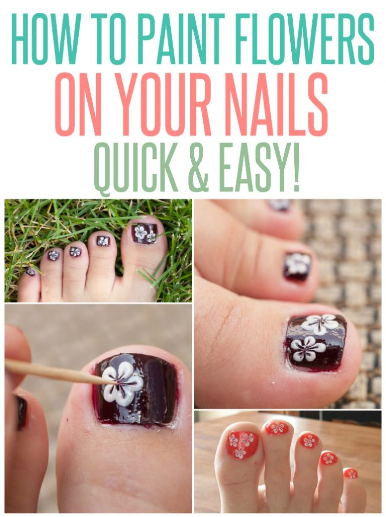 how to paint flowers on your nails quick and easy