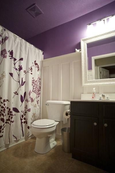 board & batten purple bathroom