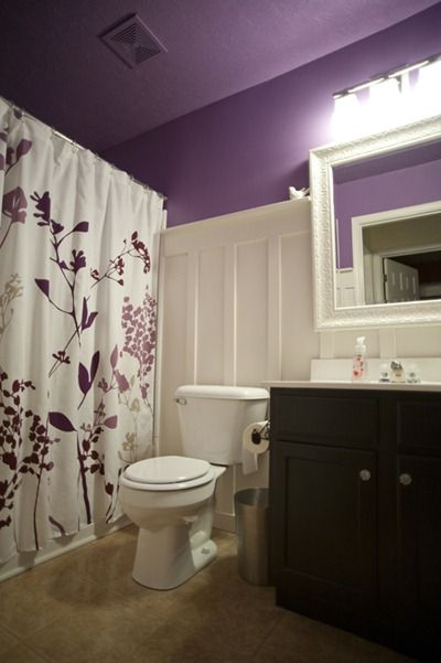 board & batten purple bathroom