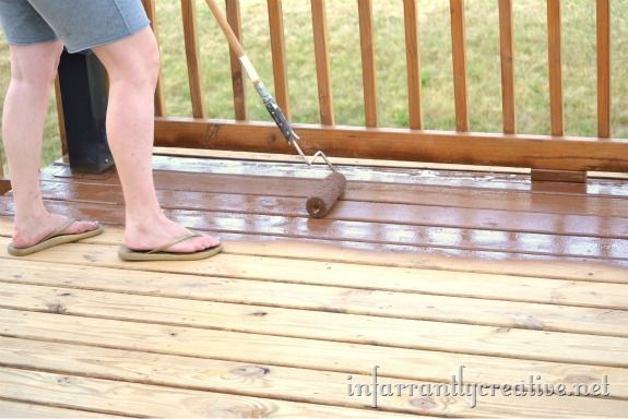 backrolling stain on the deck