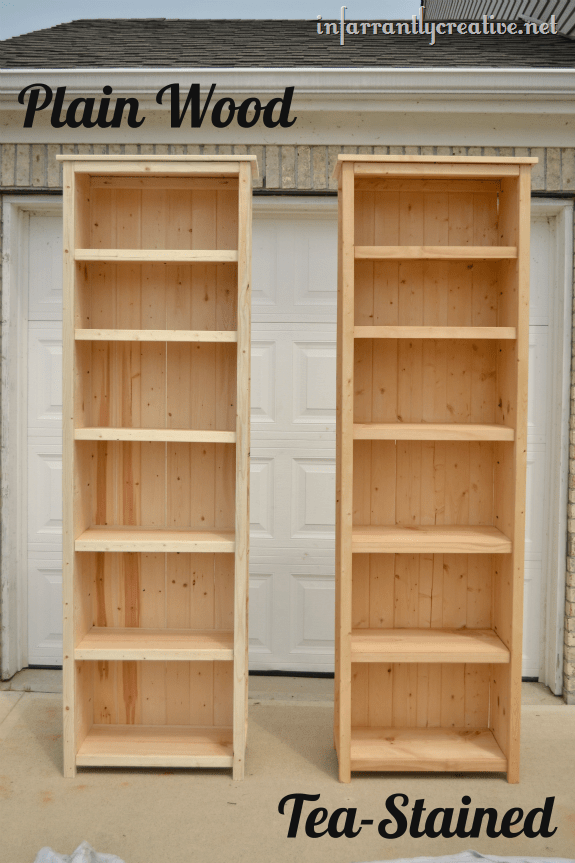 tea stained bookshelves
