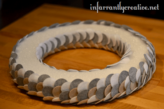 pinning felt wreath