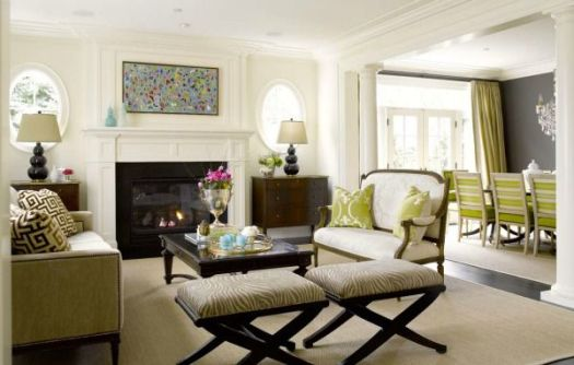 White and Green Living Room feature pic