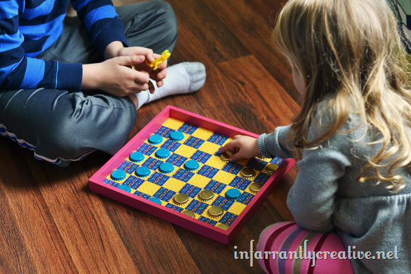 kids playing checkers
