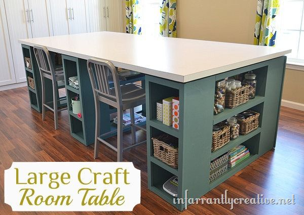 large craft table infarrantly creative. Black Bedroom Furniture Sets. Home Design Ideas
